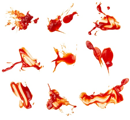 collection of  ketchup stains on white background. each one is shot separately photo