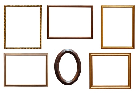 old photo border: collection of various wooden frames for painting or picture on white background. each one is shot separately Stock Photo