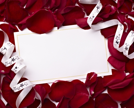 close up of greeting card dwith rose petals decoration Stock Photo - 8315238