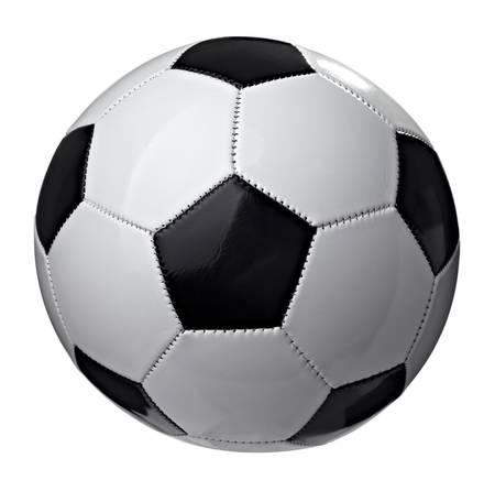 pelota de futbol: detalle de un bal�n de f�tbol sobre fondo blanco