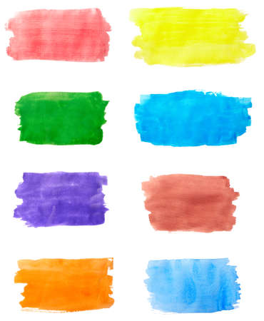 collection of  color strokes on white background. each one is shot separately photo
