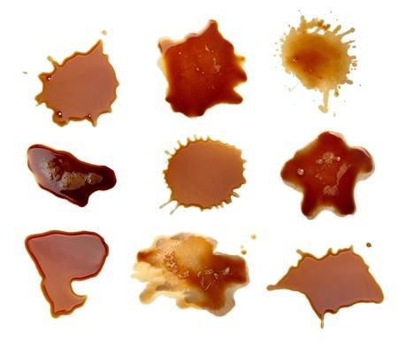 fleck: colecci�n de caf� manchas sobre fondo blanco. cada uno recibe un disparo por separado Foto de archivo