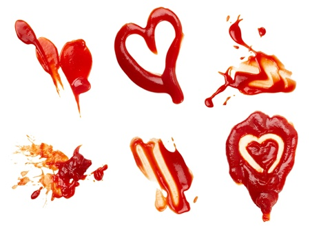 squirting ketchup: collection of  ketchup stains on white background. each one is shot separately