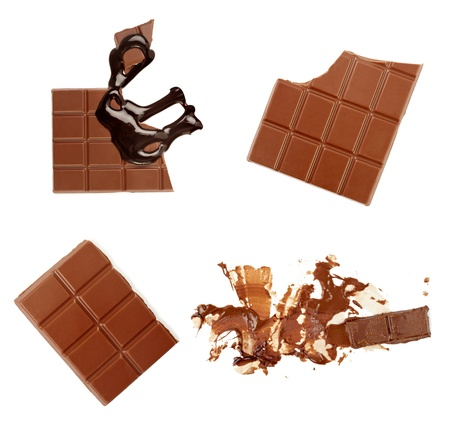 collection of chocolate syrup stains and chocolate pieces on white background. each one is shot separately Stock Photo - 8409337