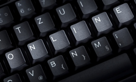 close up of word online on computer keyboard photo