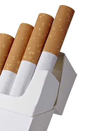 close up of a box of cigarettes on white background  photo