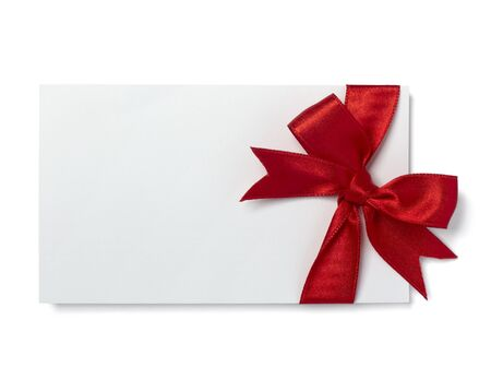 close up of  card note with red ribbon on white background   Stock Photo