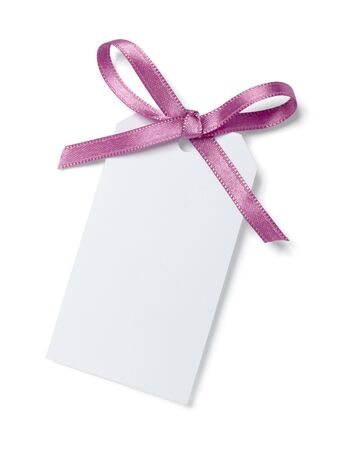 annotation: close up of  card note with  ribbon on white background