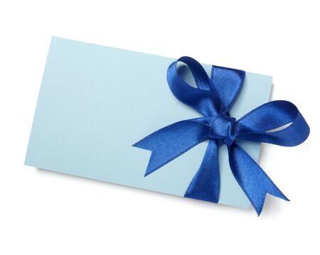 annotation: close up of  card note with blue ribbon on white background   Stock Photo