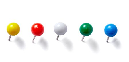 drawing pins: collection of various pushpins on white background. each one is shot separately Stock Photo