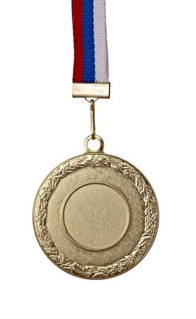 close up of golden medal on white background  Stock Photo - 8459121