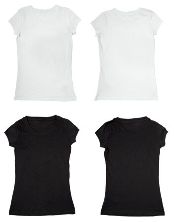 short back: collection of a blank t-shirts on white background. each one is shot separately