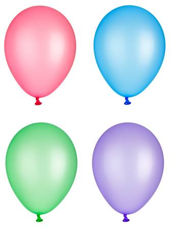 separately: collection of various balloons on white background. each one is shot separately
