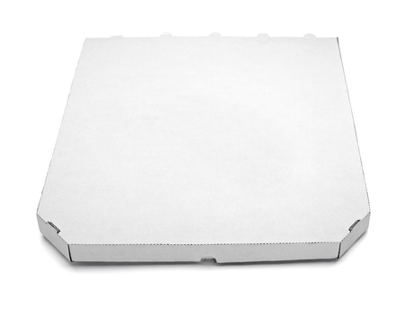 food distribution: close up of a pizza  box  on white background with clipping path