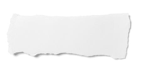 torned: close up of  white ripped piece of paper on white background  with clipping path
