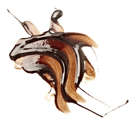 close up chocolate syrup stains on white background Stock Photo - 8572336