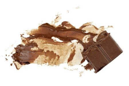 syrupy: close up chocolate syrup stains on white background