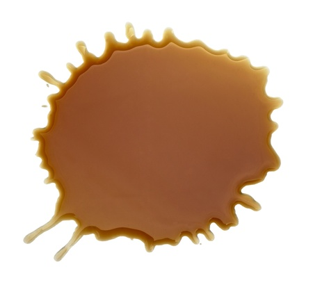 close up coffee stains on white background photo