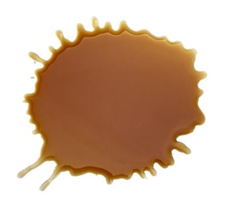 close up Kaffeeflecken auf weißem Hintergrund