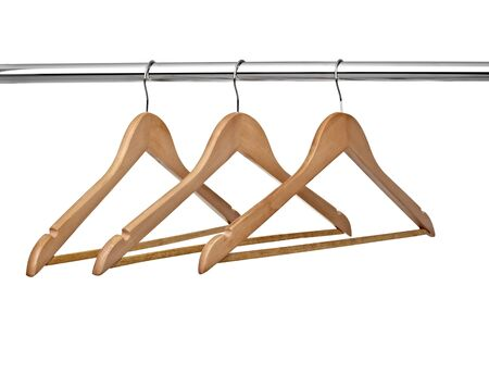 close up of  cloth hangers in row on white background Stock Photo - 8618824