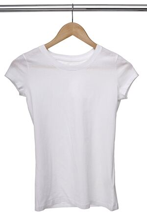 close up of a white t shirt on cloth hangers in row Stock Photo - 8618966