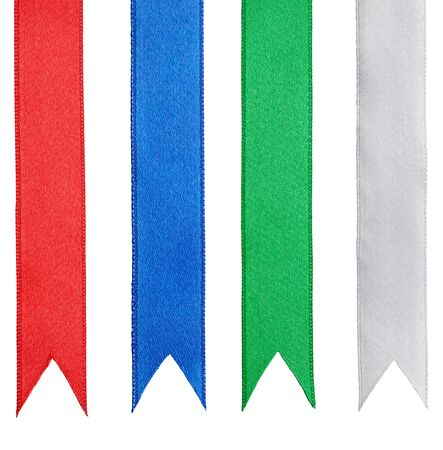 collection of ribbon pieces on white background. each one is shot separately photo