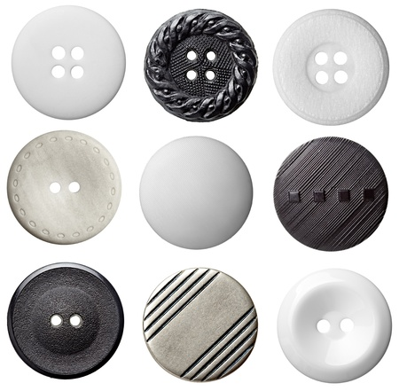 collection of various buttons on white background. each one is shot separately photo