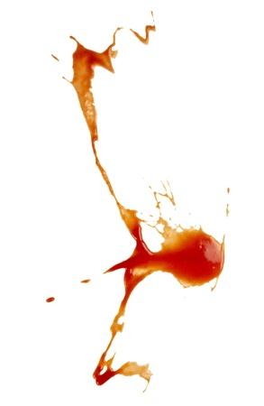 fleck: cerca de las manchas de salsa de tomate en fondo blanco con trazado de recorte Foto de archivo