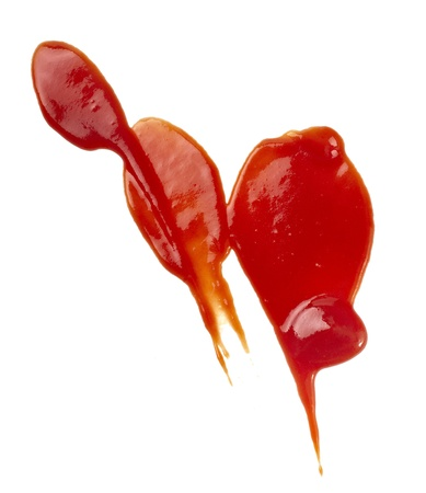 salsa de tomate: detalle de las manchas de ketchup en fondo blanco con trazado de recorte
