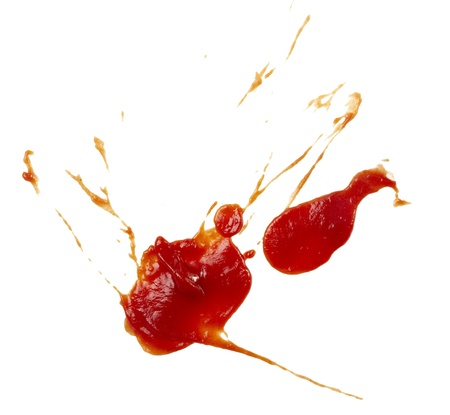 close up of  ketchup stains on white background  with clipping path