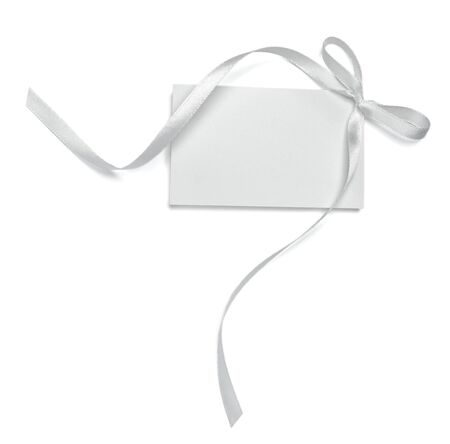 close up of  card note with  ribbon on white background  with clipping path Stock Photo - 8722309