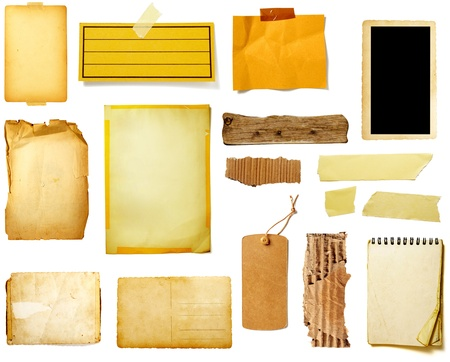 collection of various grunge paper pieces on white background. each one is shot separately Stock Photo