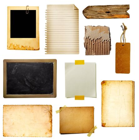 school aged: collection of various grunge paper pieces on white background. each one is shot separately Stock Photo
