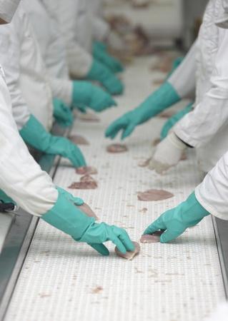 empleadas domesticas: cerca de procesamiento en la industria de la alimentaci�n de aves de corral Foto de archivo