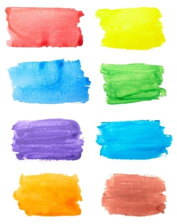 白の背景に色のストロークのコレクション。それぞれは別々 に撮影します。 写真素材