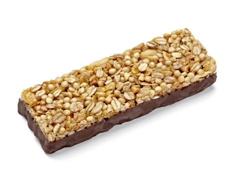 close up of a cereal bar on white background photo