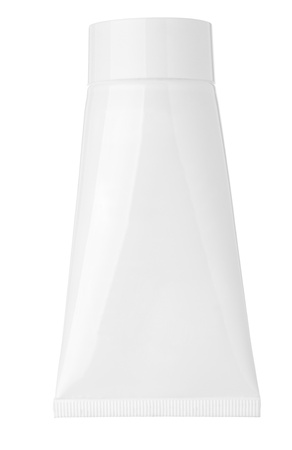 close up of a blank white cream tube on white background photo