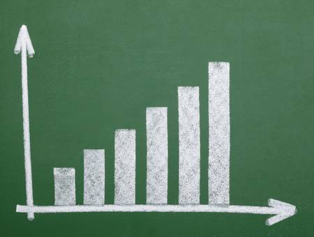 close up of chalkboard with finance business graph Stock Photo - 8863075