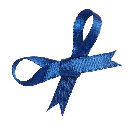 close up of blue ribbon on white background photo