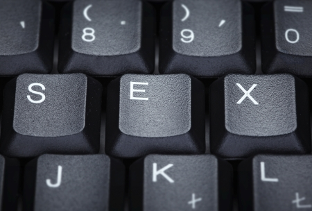 black sex: close up of word sex on computer keyboard