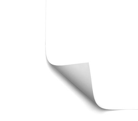 curled edges: primo piano di una pagina vuota di bianca su sfondo bianco Archivio Fotografico
