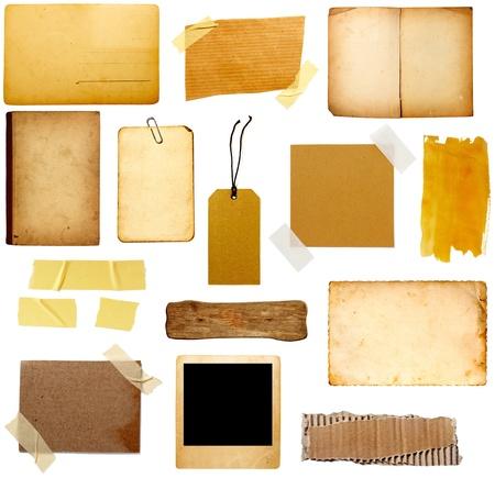 worn paper: colecci�n de varias piezas de papel de grunge sobre fondo blanco. cada uno es asesinado por separado