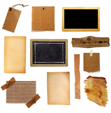 collection of various grunge paper pieces on white background. each one is shot separately Stock Photo - 8865158