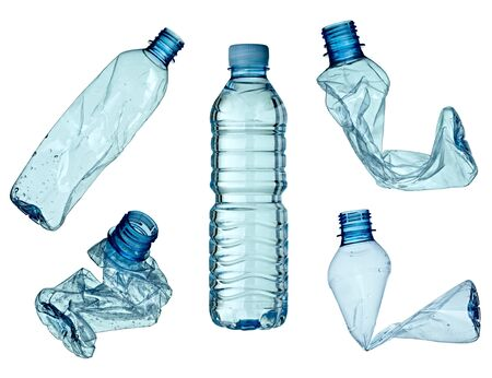 plastic waste: collection of empty used plastic bottles on white background. each one is shot separately Stock Photo