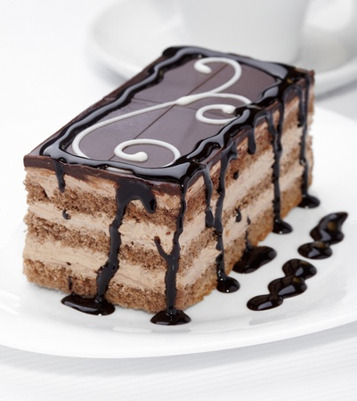 frosting: close up of a chocolate cream cake on white plate