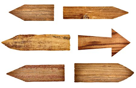 collection of wooden signs on white background. each one is a separate picture photo