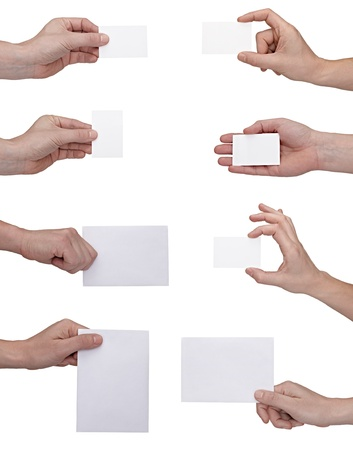 business card in hand: collection of  hands holding blank notes on white background. each one is shot separately
