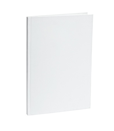 cover book: close up of a blank white notebook on white background  Stock Photo