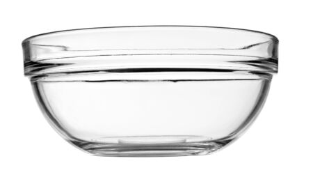 bol vide: close up of a glass bowl on white background