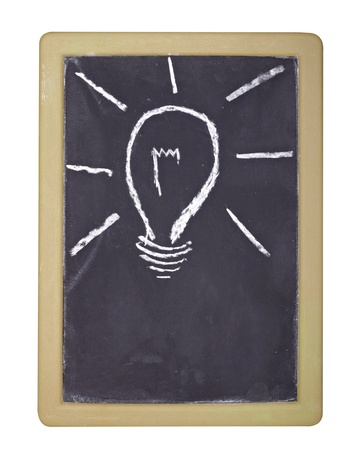 close up of light bulb drawing on chalkboard Stock Photo - 9071350